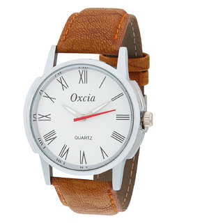 Oxcia White Dial Brown Strap Analog Watch For Men  Boys