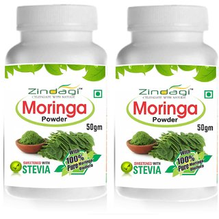 Zindagi Moringa Powder-100 Natural  Herbal-Stevia  Moringa Green Powder (100gm)