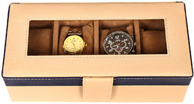 Leather World Beige High Quality PU Leatherite Watch Box Case for 4 Watches (Transparent Lid)