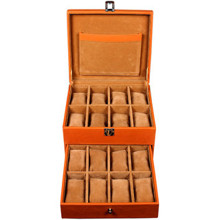 Leather World Tan 2 Storey Watch Cases Boxes for 16 Watches (Guaranteed High Quality PU Leather)