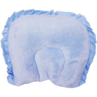 Wonderkids Soft & Comfortable Semi Circular Shape Headrest Baby Fur Pillow, Blue