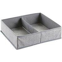 InterDesign Aldo Fabric Dresser drawer Storage Organizer for Underwear, Socks, Bras, Tights, Leggings - Large, 2 Compartments, Gray