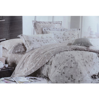 Jagdish Store Off White Cotton Bed Sheet with 2 Pillow Covers