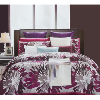 Jagdish Store Purple Cotton Bed Sheet with 2 Pillow Covers