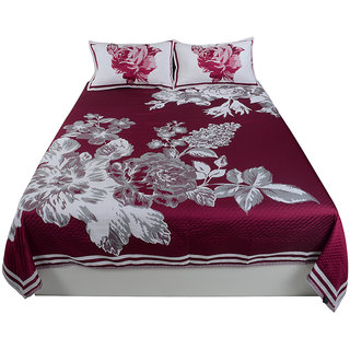 Jagdish Store Pink Cotton Bed Sheet with 2 Pillow Covers