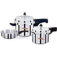 Combo Pack Of Surya Accent Aluminium Pressure Cooker- 5L + 3L + 2L