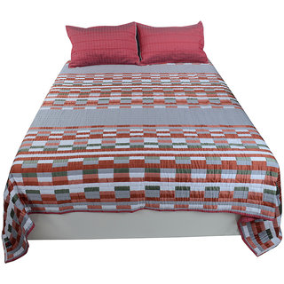 Jagdish Store Brown Cotton Bed Sheet with 2 Pillow Covers