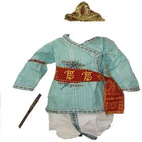 Krishna Costume Set for Kids in Green (0-3 months)