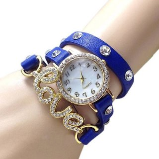 Blue Love Leather Belt Diamound Designing Stylist Leather Belt Analog Watch For Women