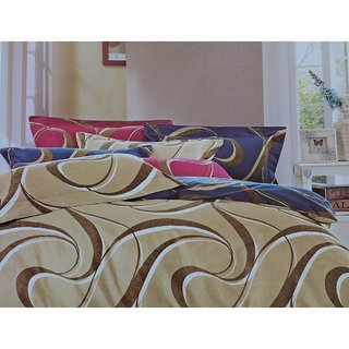 Jagdish Store Beige Cotton Bed Sheet with 2 Pillow Covers