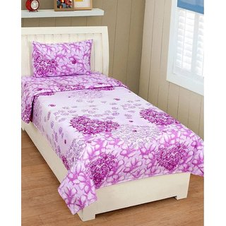 iLiv Stylish Printed Single Bed Sheet With Pillow Cover
