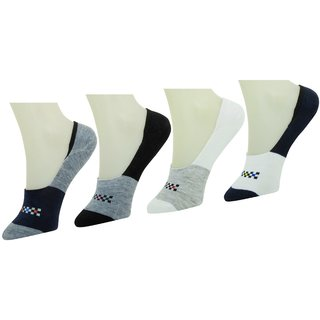 Neska Moda Premium Men and Women 4 Pairs Multicolor Cotton Loafer Socks