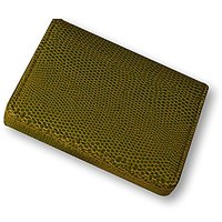 Budd Leather Company Lizard Printed Leather Business Card Case, Lime Green (552282L-39)