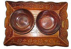 Carved Tray with two bowls Size 812,