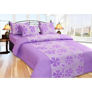 Impeccable Home Cotton Floral Double Bedsheet with 2 pillow covers