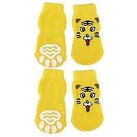 Generic Tiger Pattern Pet Dog Puppy Cat Non-slip Socks
