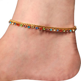 Sparkling Jewellery Gold Plated Multicolor Alloy Anklets For Women