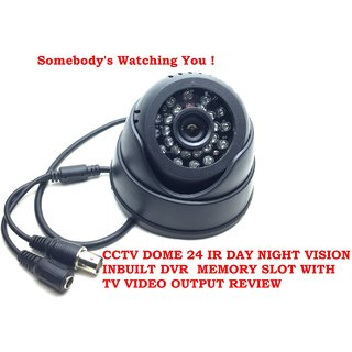 24 IR Night Vision Dome CCTV Camera (BNC Interface) Inbuilt DVR With Memory Card Slot Recording (32GB SANDISK Memory Card included) - Pack of 1