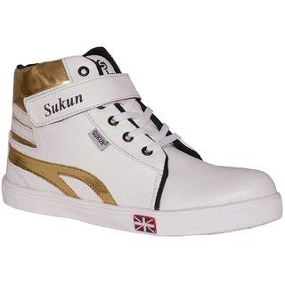 buy sukun white golden long sneaker casual shoes online