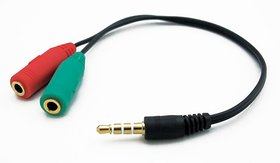 3.5MM STEREO JACK Male Y SPLITTER AUDIO+MICROPHONE (F) CABLE