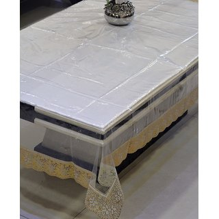 Freely Pvc Transprant With Pvc Lace Dining Table Cover For 6 Seater