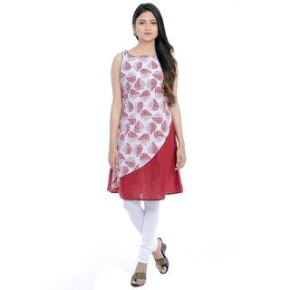 Priyaz Maroon Cotton A-line Kurti