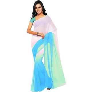 Aruna Sarees Multicolor Chiffon Plain Saree With Blouse Piece