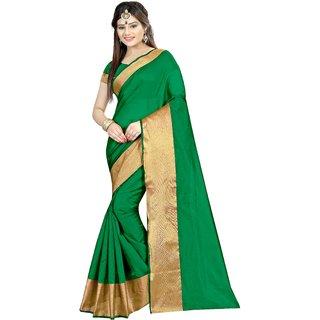 Aruna Sarees Green Art Silk Plain Saree With Blouse Piece