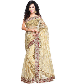Aruna Sarees Beige Net Embroidered Saree With Blouse Piece
