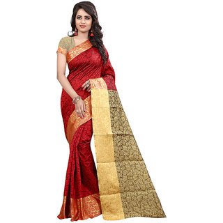 Fashions World Red Cotton Floral Saree With Blouse