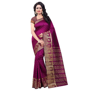 Fashions World Pink Raw Silk Floral Saree With Blouse