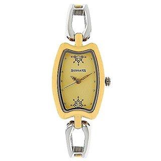 Sonata Quartz Yellow Dial Women Watch-8116BM02