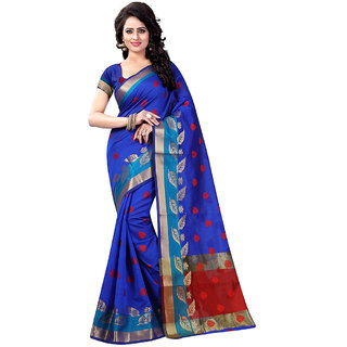 Fashions World Blue Cotton Floral Saree With Blouse