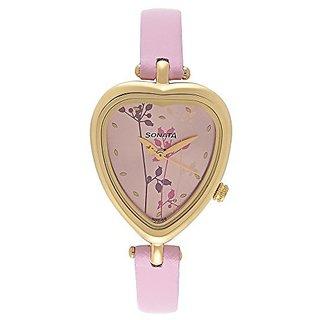 Sonata Quartz Pink Dial Women Watch-8142YL02