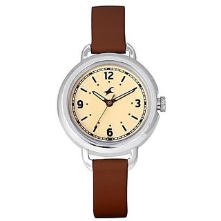 FASTRACK GIRLS LEATHER ANALOG GREY CASUAL WATCHES - 6123SL03