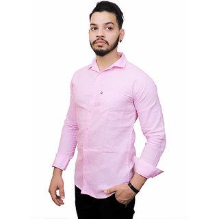 Fashion Trend Men's Pink Slim Fit Poly-Cotton Shirt