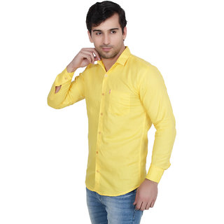 Fashion Trend Yellow Casual Slimfit Poly-Cotton Shirt