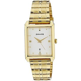 Sonata Quartz White Dial Mens Watch-7007YM01