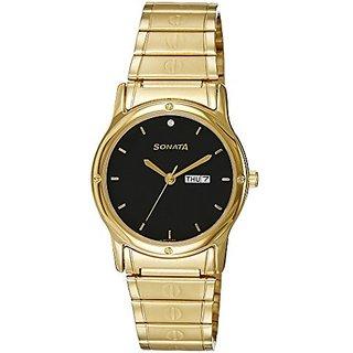 Sonata Quartz Black Dial Mens Watch-7023ym10
