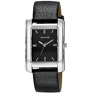 Sonata Analog Black Square Watch -7953SL07