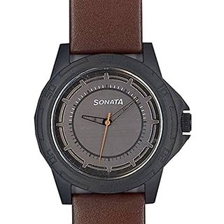 Sonata Quartz Black Dial Mens Watch-77018PL01