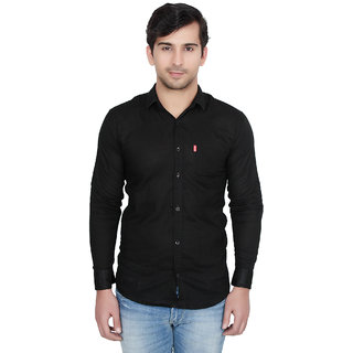 Fashion Trend Plain Black Casual Slimfit Poly-Cotton Shirt