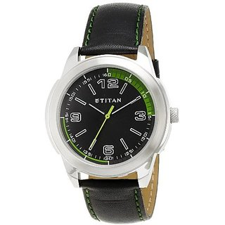 Titan Quartz Black Dial Mens Watch-1585SL04