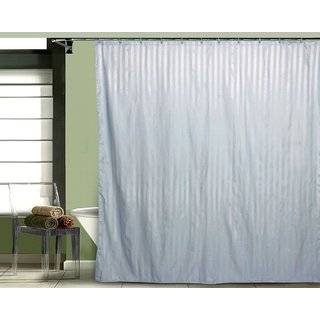 Just Linen Water Resistant Striped Polyester Light sky blue Colored Full Length Shower Curtains