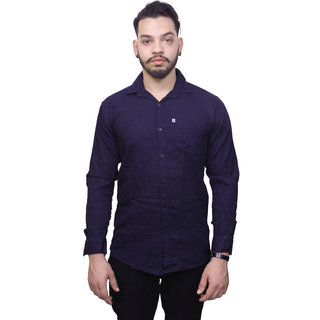 Fashion Trend Plain Navy Casual Slimfit Shirt