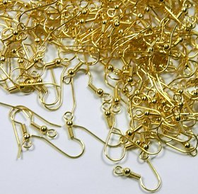 Surgical Steel Earring Earwires Hypoallergenic Gold Plated Fishhook with 10x3.5mm Ball and Coil with Open Loop, 21 Gauge. 100 Pairs. (200)