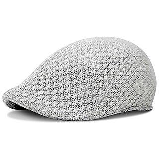 9c93c655dd3 Duck Mesh Summer Gatsby Cap Mens Ivy Hat Golf Driving Sun Flat Cabbie  Newsboy (Silver)