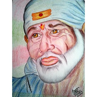 Sai Baba Color Pencil Sketch Best Deals With Price