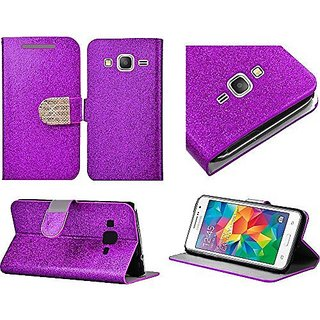 For Samsung Galaxy Grand Prime LTE G530H G530F Phone Case, Bastex Shiny PU Leather Bling Flip Wallet Credit Card Cover Case - Purple