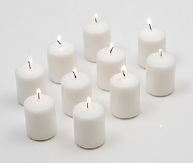 AuraDecor Set of 42 Votive Candles 12 Hours, White Unscented